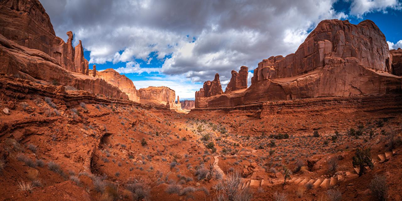 Photo USA Arches National Park, Utah Rock Nature park Clouds Crag Cliff Parks