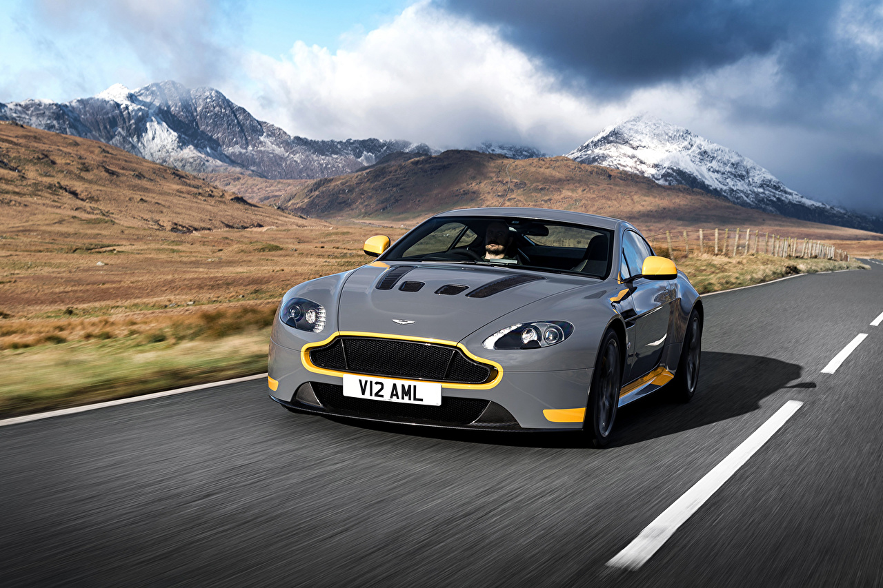 Picture Aston Martin V12 Vantage S Sport-Plus Pack Grey mountain driving Cars gray Mountains moving riding Motion at speed auto automobile