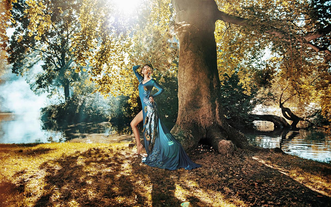 Hintergrundbilder Braune Haare Mädchens Baumstamm Kleid Braunhaarige