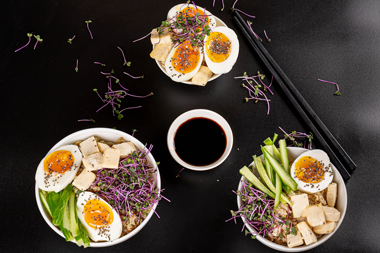 Pictures egg Breakfast soya sauce Cheese Food Three 3 Porridge Vegetables Gray background Eggs Soy sauce