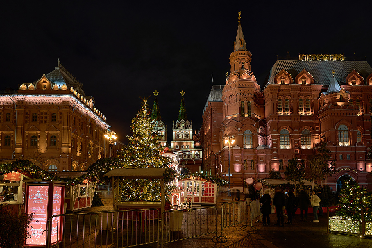 Pictures Moscow Russia New year Manezhnaya Square Christmas tree Night Street lights Cities Building Christmas New Year tree night time Houses