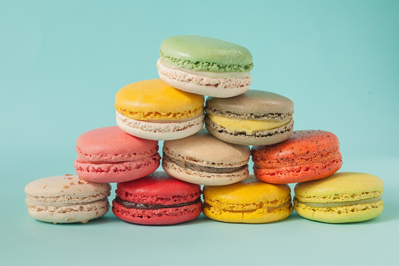 Wallpaper french macarons Food Cookies Colored background Macaron