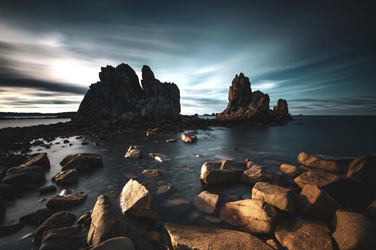 Picture France Bretagne Cliff Nature Coast stone Crag Rock Stones