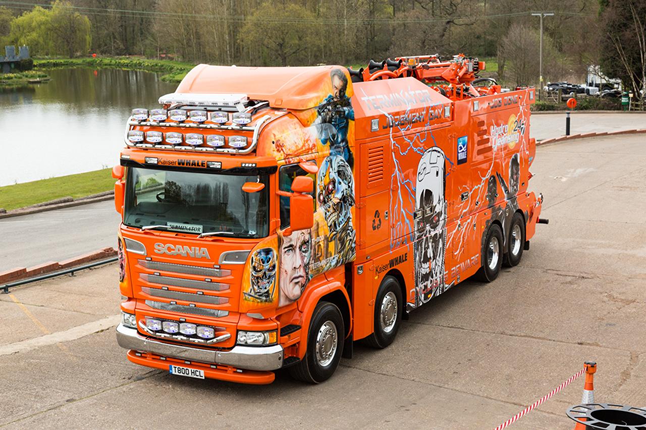 Achtergronden Scania Tuning Vrachtwagens 2016 R730 Highline  Terminator Oranje Auto