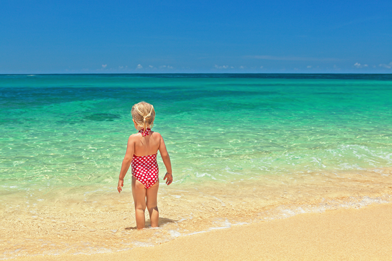Images Little girls Swimwear Beach Children Sea Back view child beaches