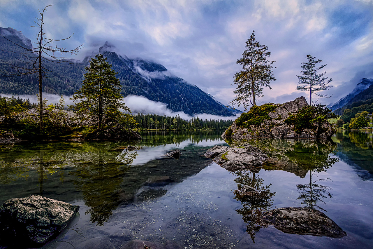 Picture Germany Hintersee Cliff Nature mountain Lake stone Trees Rock Crag Mountains Stones