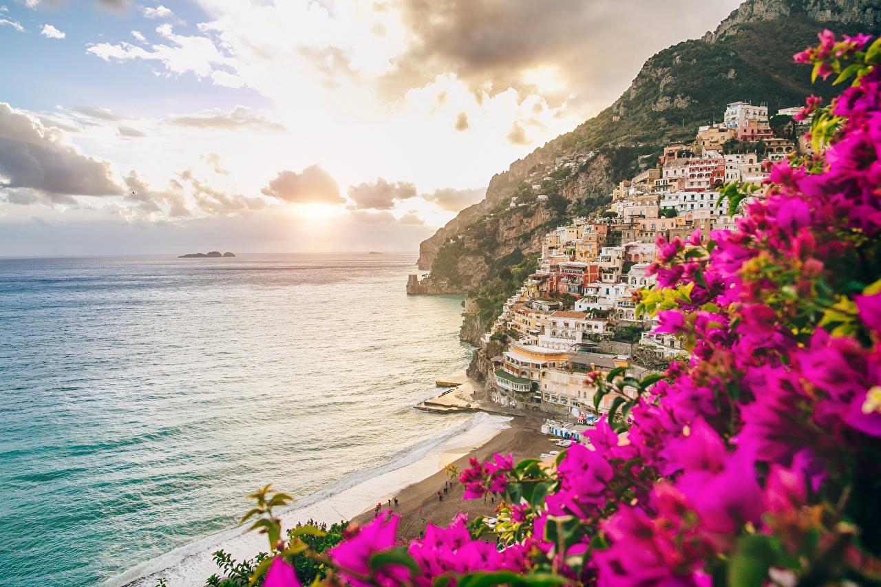 Photo Amalfi Italy Salerno Sea Sunrises and sunsets Coast Cities sunrise and sunset