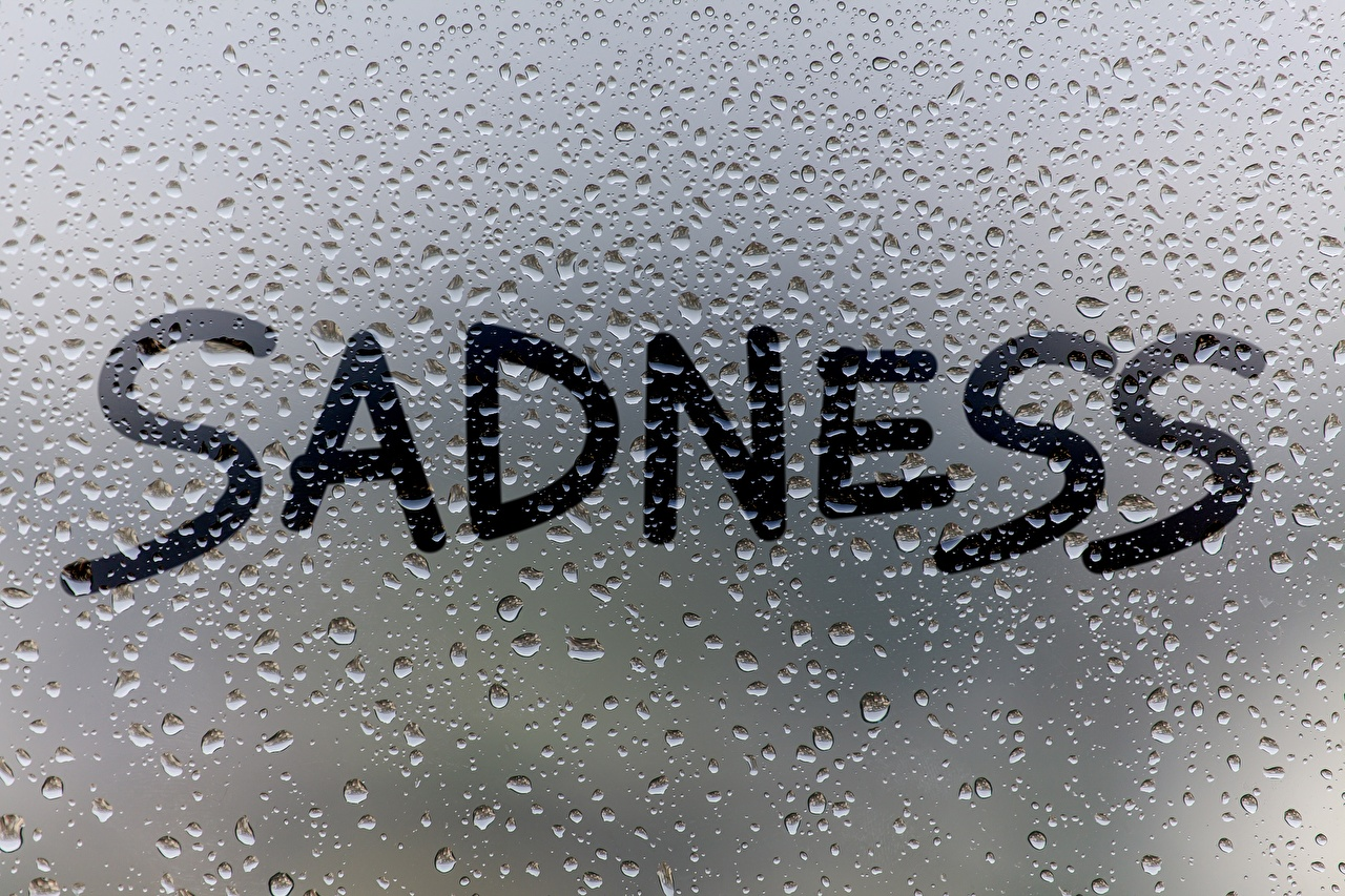 Image English SADNESS Drops Word - Lettering Glass text lettering
