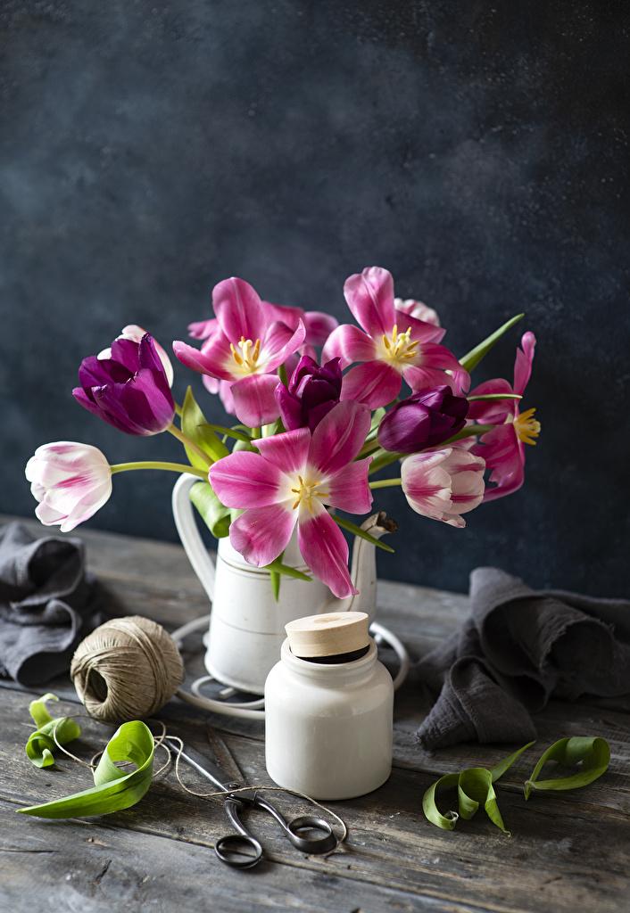 Картинки Тюльпаны банке Цветы вазе Доски  для мобильного телефона тюльпан Банка банки цветок Ваза вазы