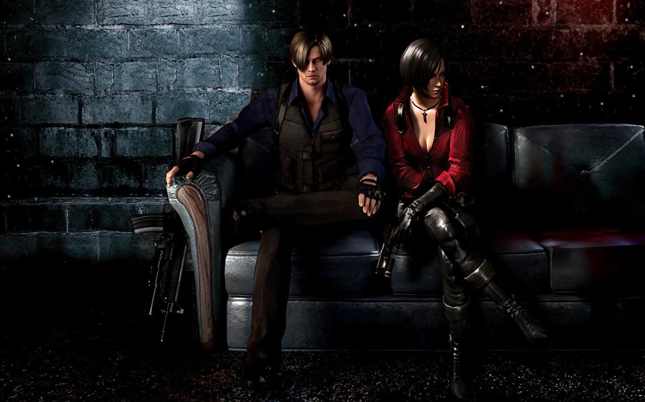 Achtergronden bureaublad jonge vrouw Resident Evil Resident Evil 6 Mannen Leon S. Kennedy Bankstel Computerspellen Twee 2 Ada Wong Jonge vrouwen een man divan videogames computerspel