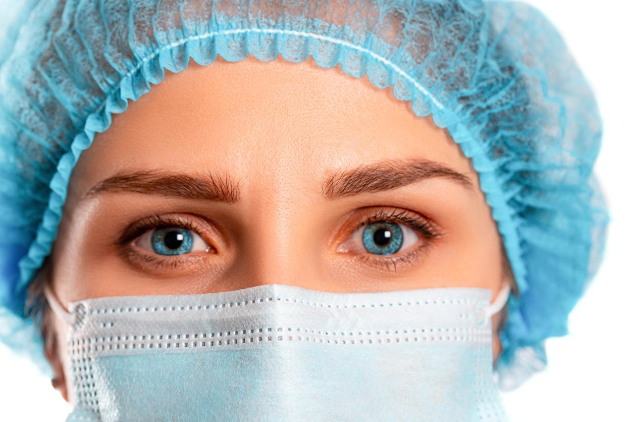 Image Coronavirus Eyes female Masks Glance White background Girls young woman Staring