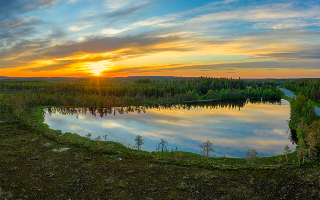 Image Finland Kuusamo Sun Nature Sky Lake Roads Forests sunrise and sunset Evening forest Sunrises and sunsets