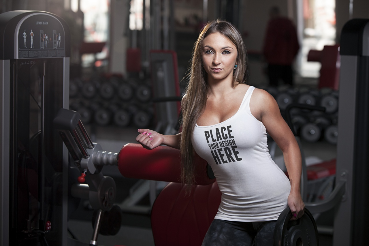 Photo English Bokeh Fitness Girls text Singlet Staring blurred background female young woman lettering Sleeveless shirt Word - Lettering Glance