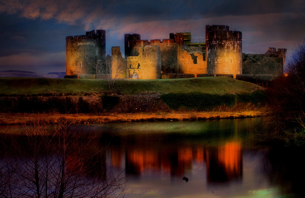 Fonds D Ecran Chateau Fort Royaume Uni Caerphilly Nuit Pays