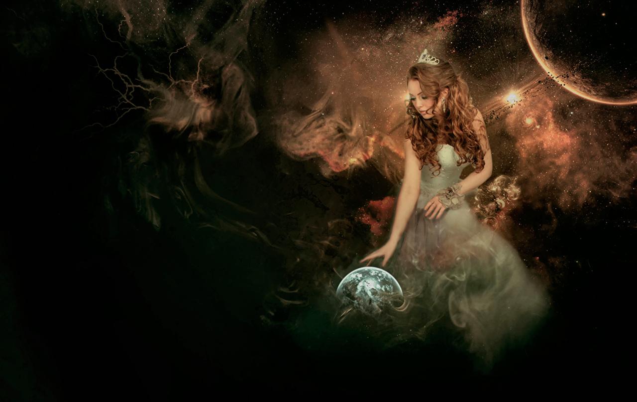 Planètes Terre Aux cheveux bruns jeune femme, jeunes femmes, Espace, planète Filles Сosmos Fantasy