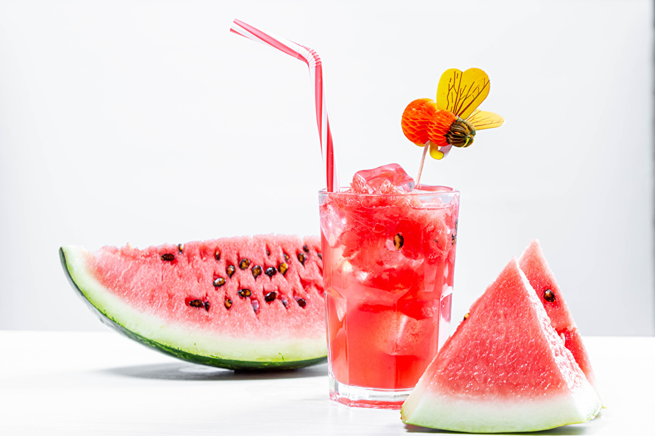 Pictures Bees Piece Watermelons Highball glass Food White background Drinks pieces drink