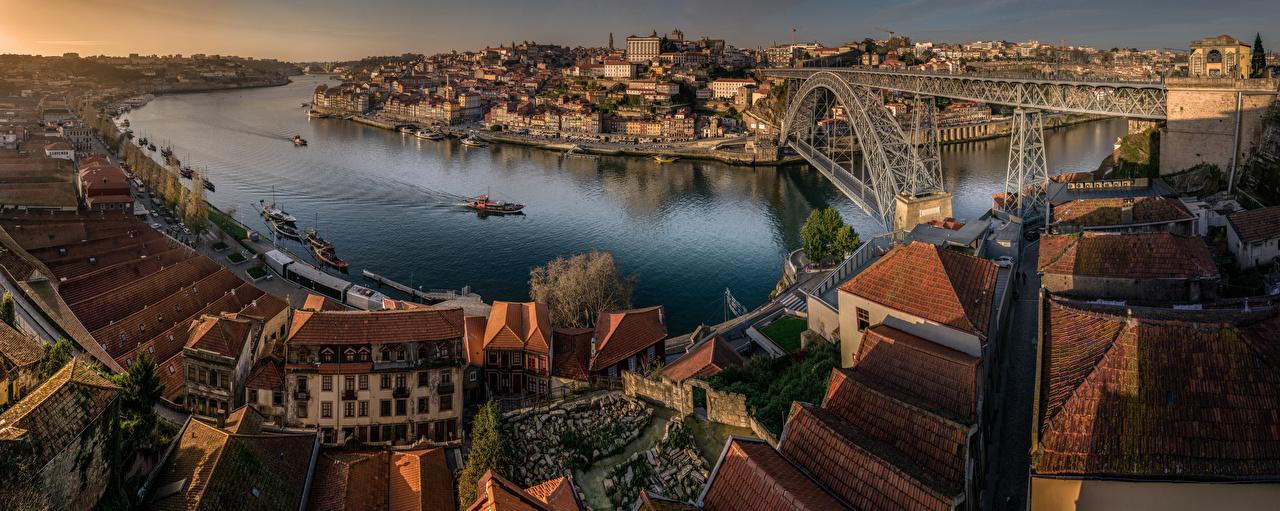 Images Cities Porto Portugal Bridges Rivers Houses panoramic Oporto bridge river Building Panorama