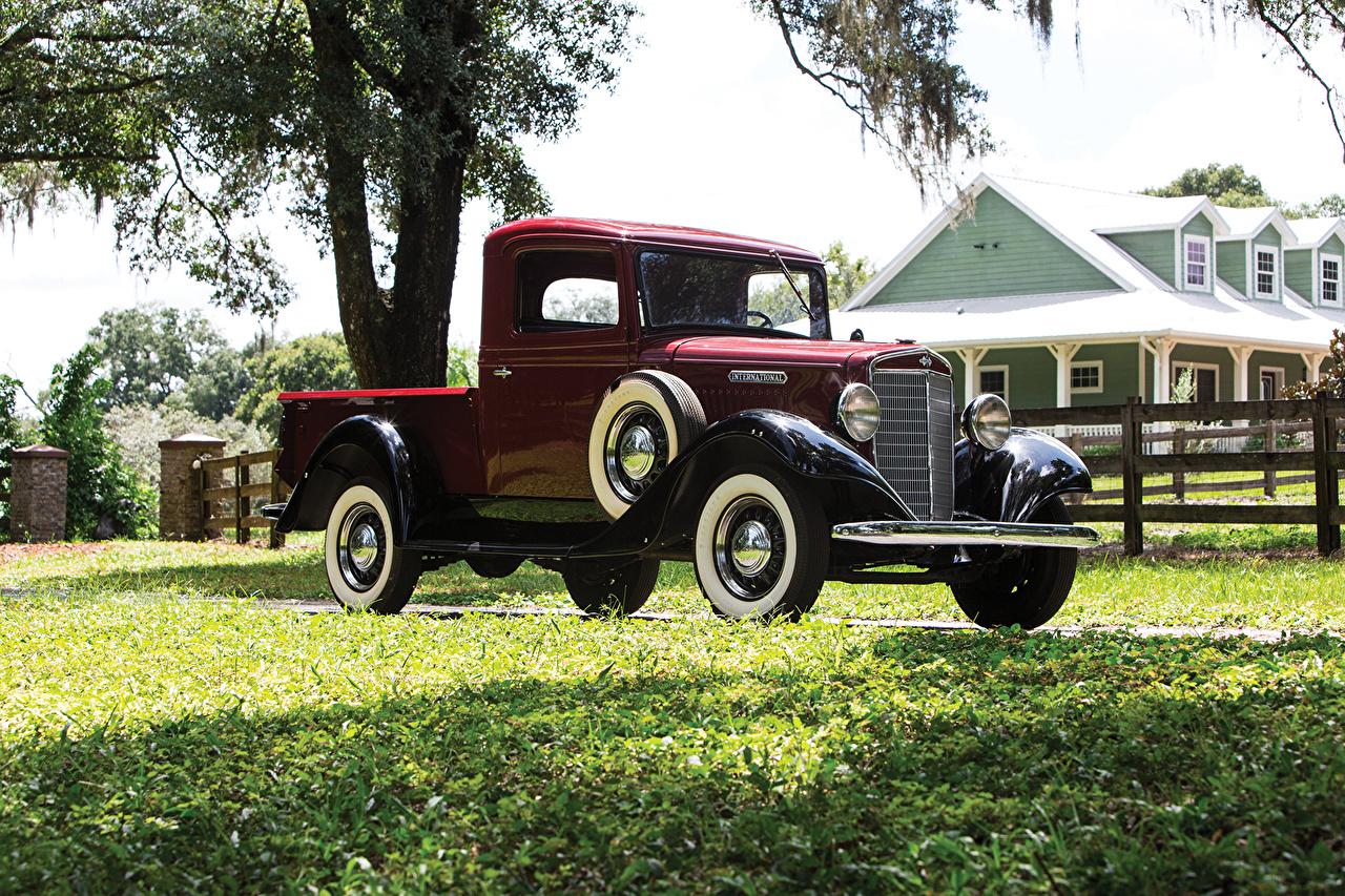 Image Wine color 1934 International C-1 Pickup Cars antique maroon burgundy dark red auto automobile Retro vintage