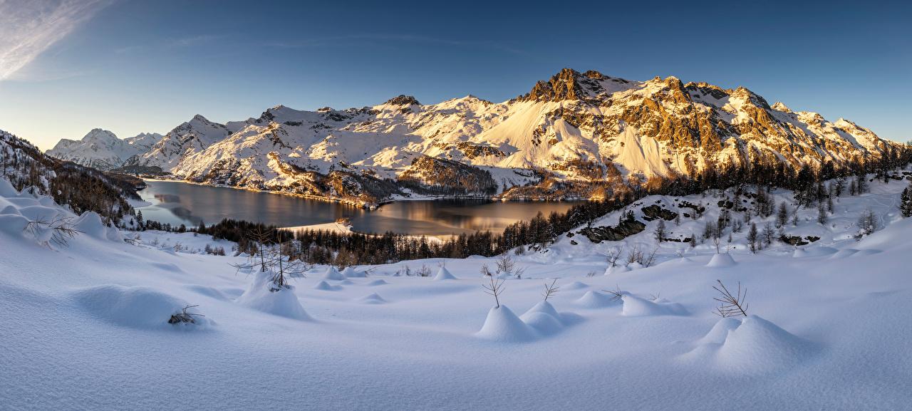 Images Nature panoramic Switzerland Engadin Snow Winter mountain Alps Panorama Mountains