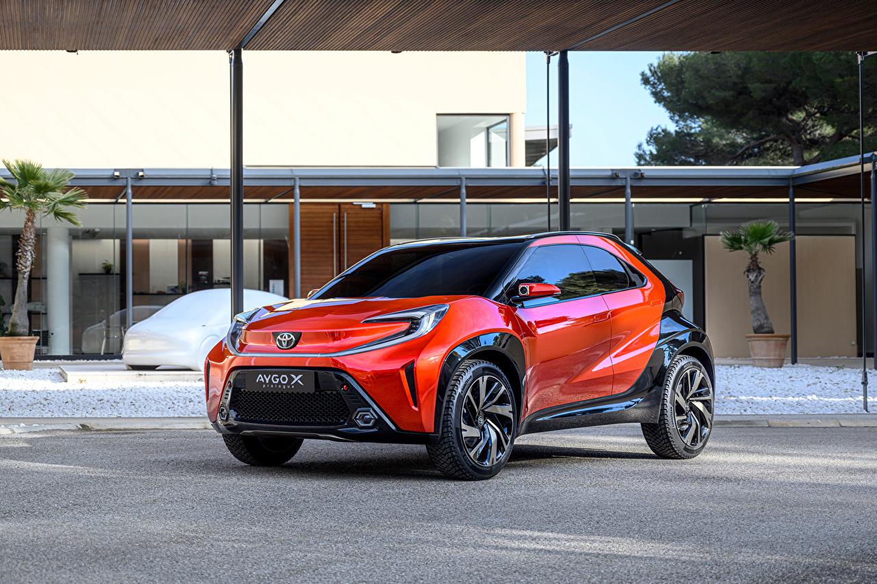 Desktop Wallpapers Toyota Aygo X prologue, 2021 Orange auto Metallic Cars automobile