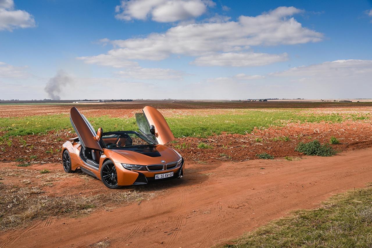Photos BMW 2018 i8 Roadster Convertible Orange Cars Cabriolet auto automobile