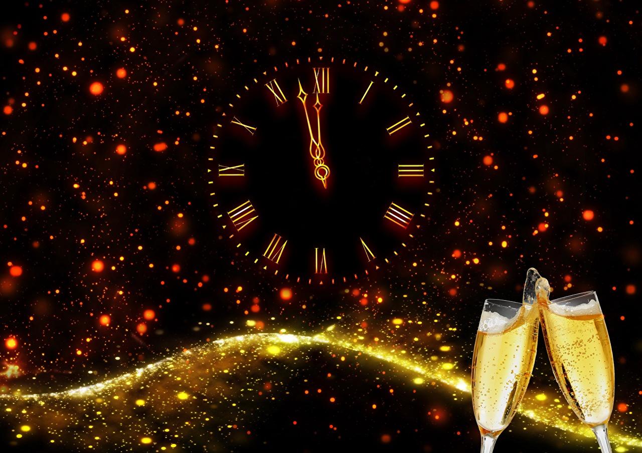 Ano-Novo Feriados Champanhe Relógio Mostrador de relógio   Copo de vinho Vinho espumante