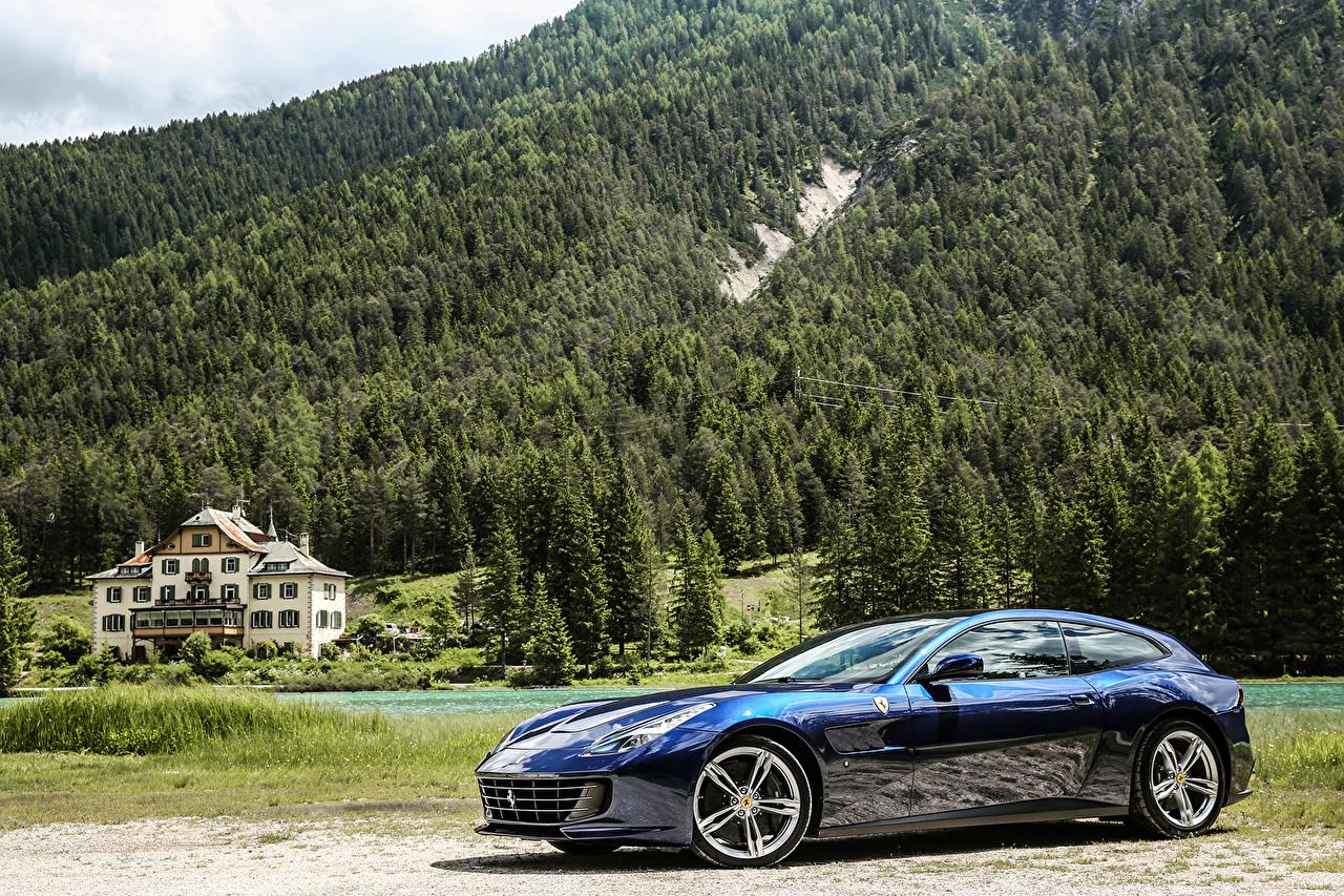 Picture Ferrari 2016 GTC4 Lusso Blue forest auto Metallic Forests Cars automobile
