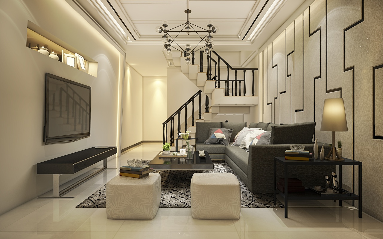 Photo Living room stairway 3D Graphics Room Interior Sofa Table TV set Chandelier Pillows Design lounge sitting room Stairs staircase Couch television
