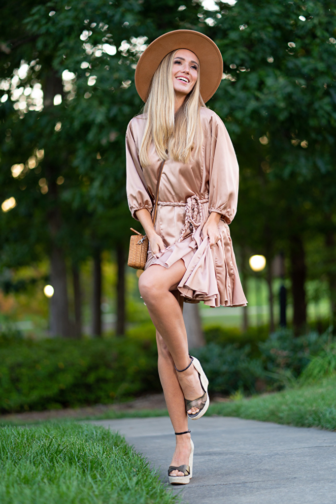Photo Olga Clevenger posing Blonde girl gown Legs young woman Hat  for Mobile phone Pose frock Dress Girls female