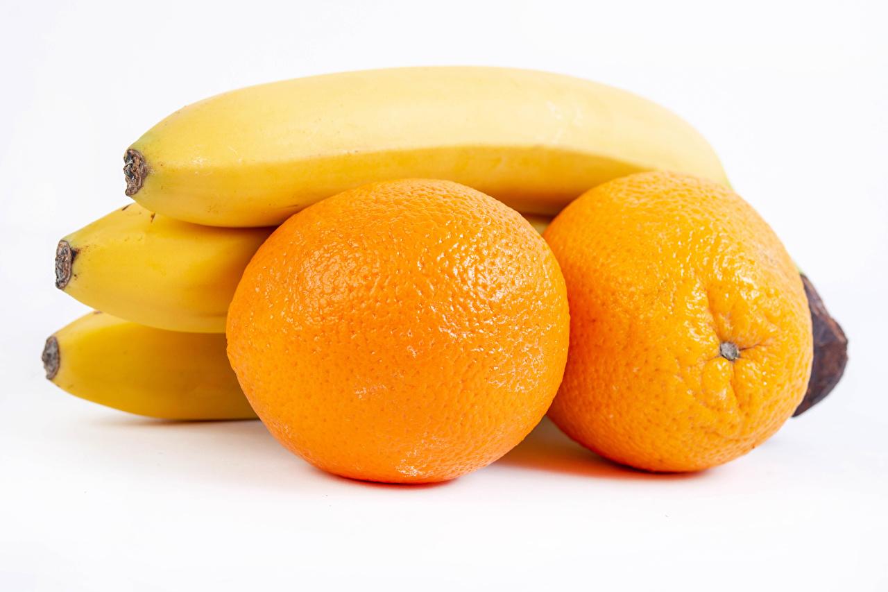 Wallpaper Orange fruit Bananas Food White background