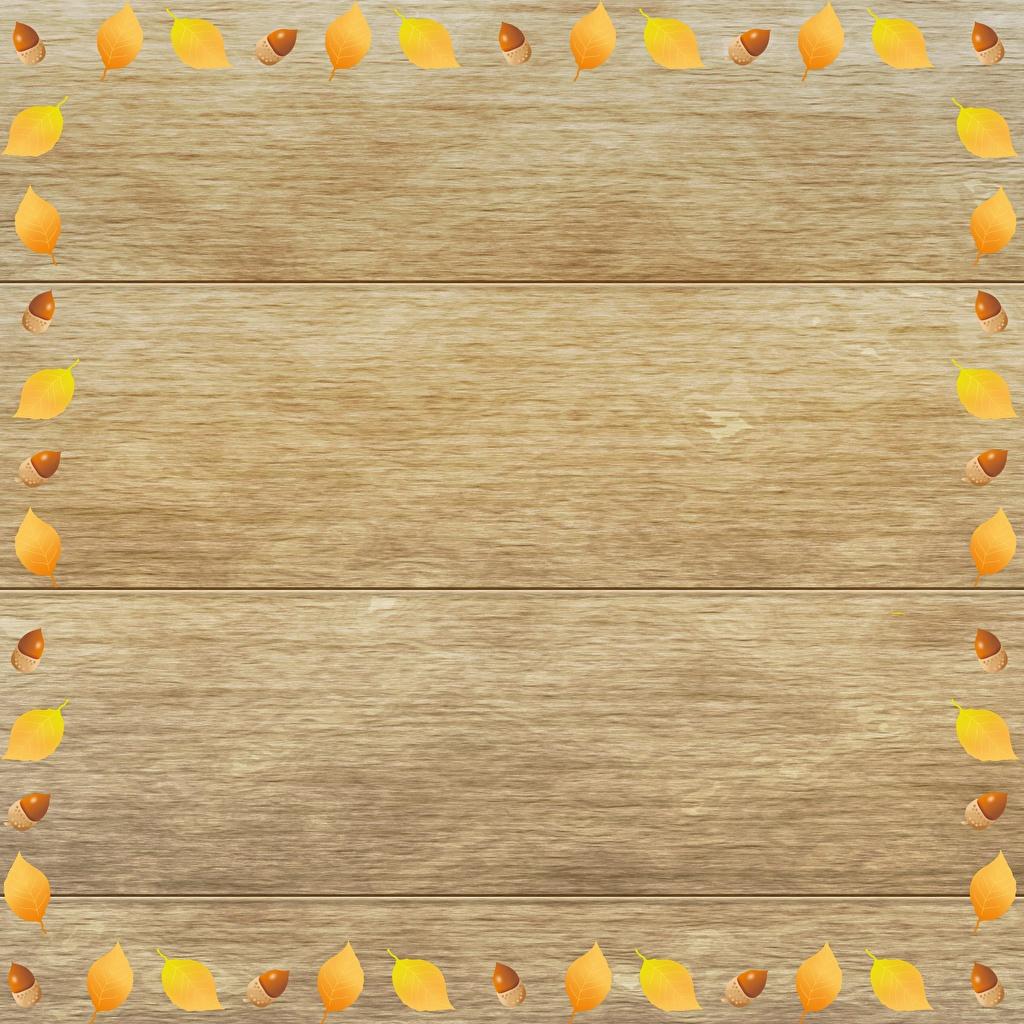 Photos Leaf Acorn Template greeting card Wood planks Foliage boards
