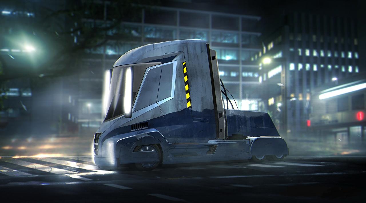 壁紙 ブレードランナー 2049 貨物自動車 Truck Nikola One Semi 青