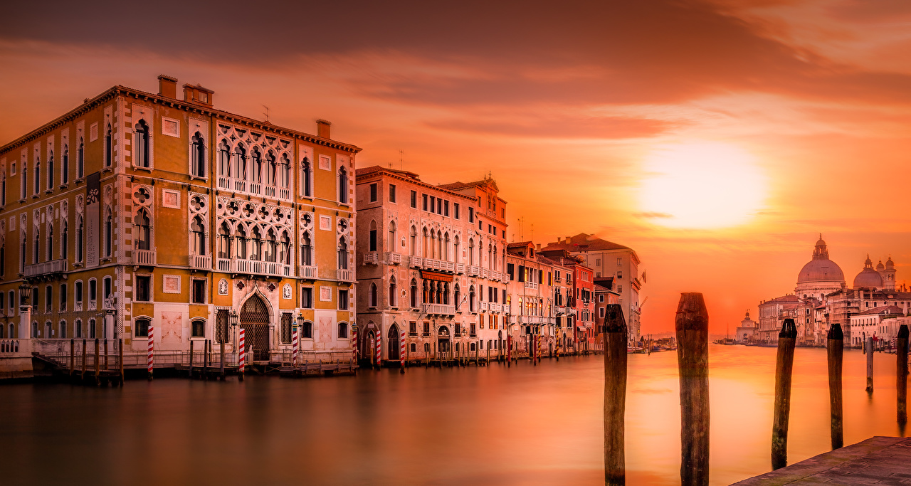 Wallpaper Venice Italy Canal Evening Cities