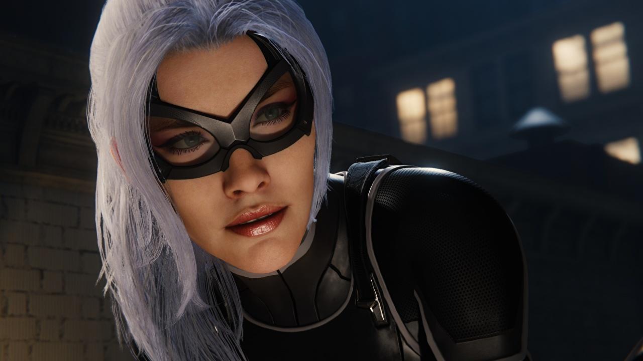 Máscara Catwoman Héroe Spider-Man - Games Exclusive PS4, Felicia Hardy Cara Rubio Nia mujer joven, mujeres jóvenes, videojuego Juegos Chicas 3D Gráficos