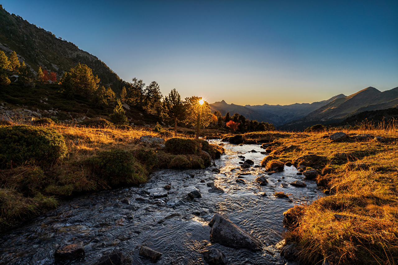 Wallpaper Andorra Sorteny, Pyrenees Nature Autumn Mountains sunrise and sunset Rivers Stones mountain Sunrises and sunsets river stone