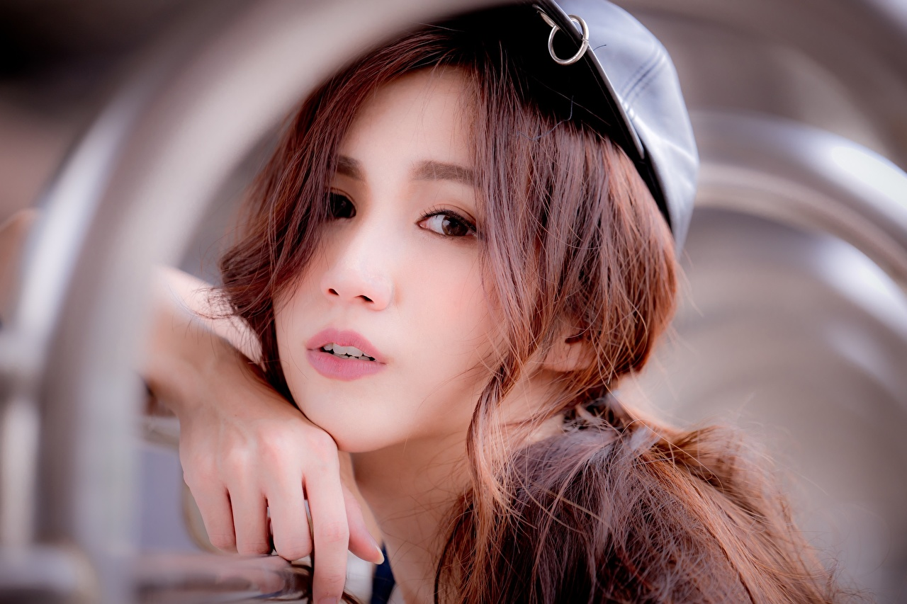 Picture Brown haired Bokeh Face Girls Asian Hands Staring blurred background female young woman Asiatic Glance