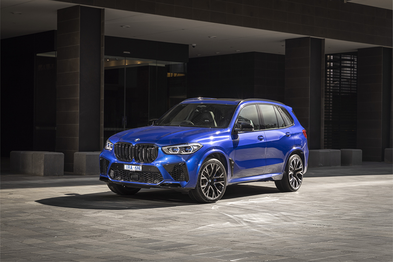 Wallpaper BMW Crossover 2020 X5 M Competition Blue auto CUV Cars automobile