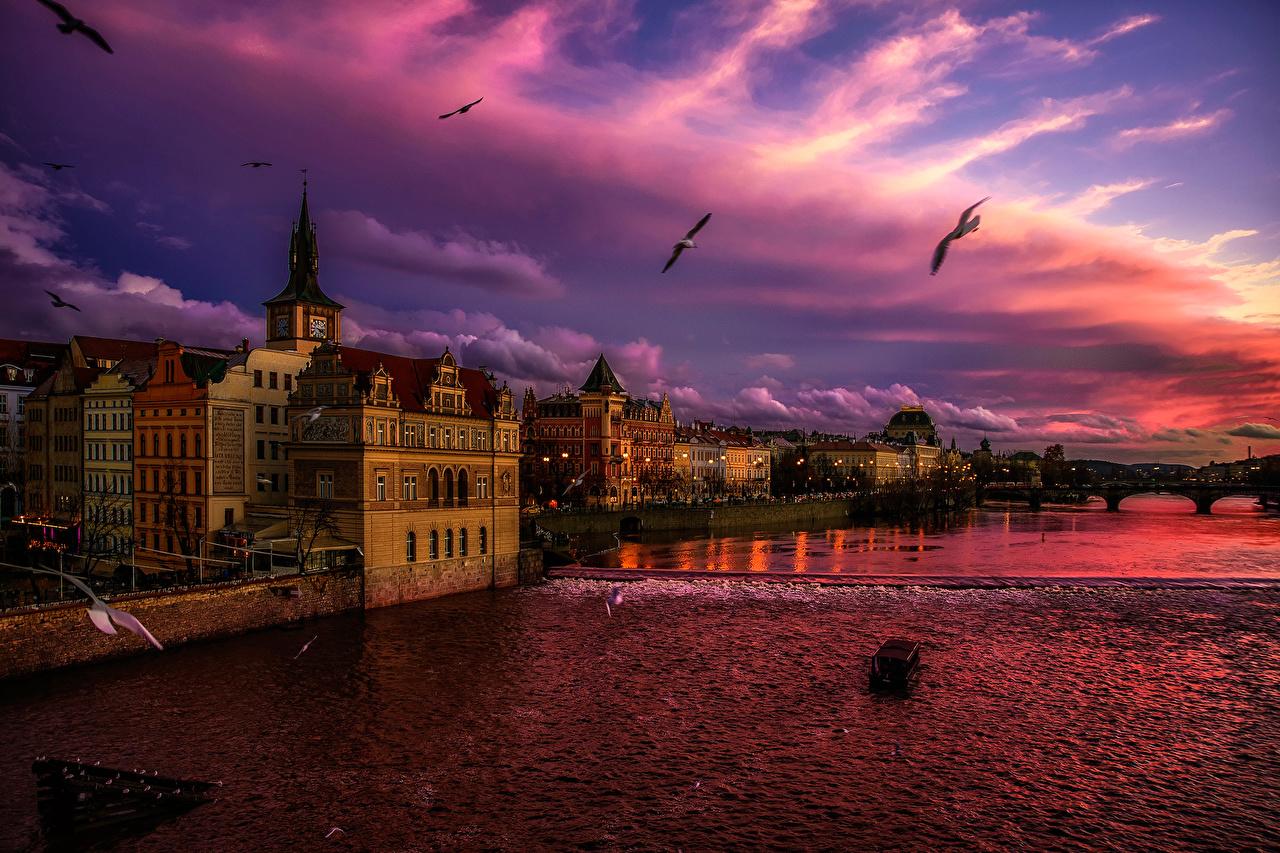 Fondos de Pantalla Praga República Checa Casa Cielo Amaneceres y  atardeceres Canal Nube Ciudades descargar imagenes