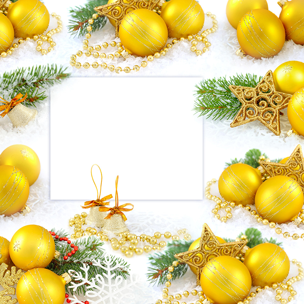 Desktop Wallpapers New year Balls Branches Handbell Template greeting card Holidays Jewelry Christmas Bells