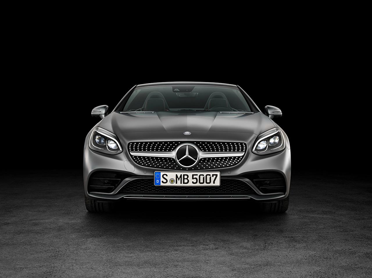 Картинки Mercedes-Benz AMG SLC-Class R172 кабриолета серая авто Спереди Мерседес бенц Кабриолет Серый серые машина машины Автомобили автомобиль