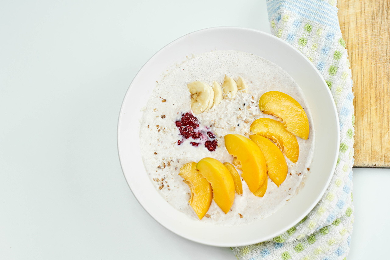 Wallpaper Breakfast Bananas Peaches Food Plate Fruit Muesli