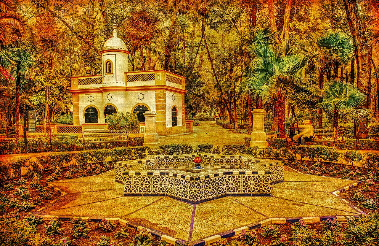 Bilder Spanien Springbrunnen Seville Maria Luisa Park Natur Herbst Palmen Bäume Gebäude Design Palmengewächse Haus