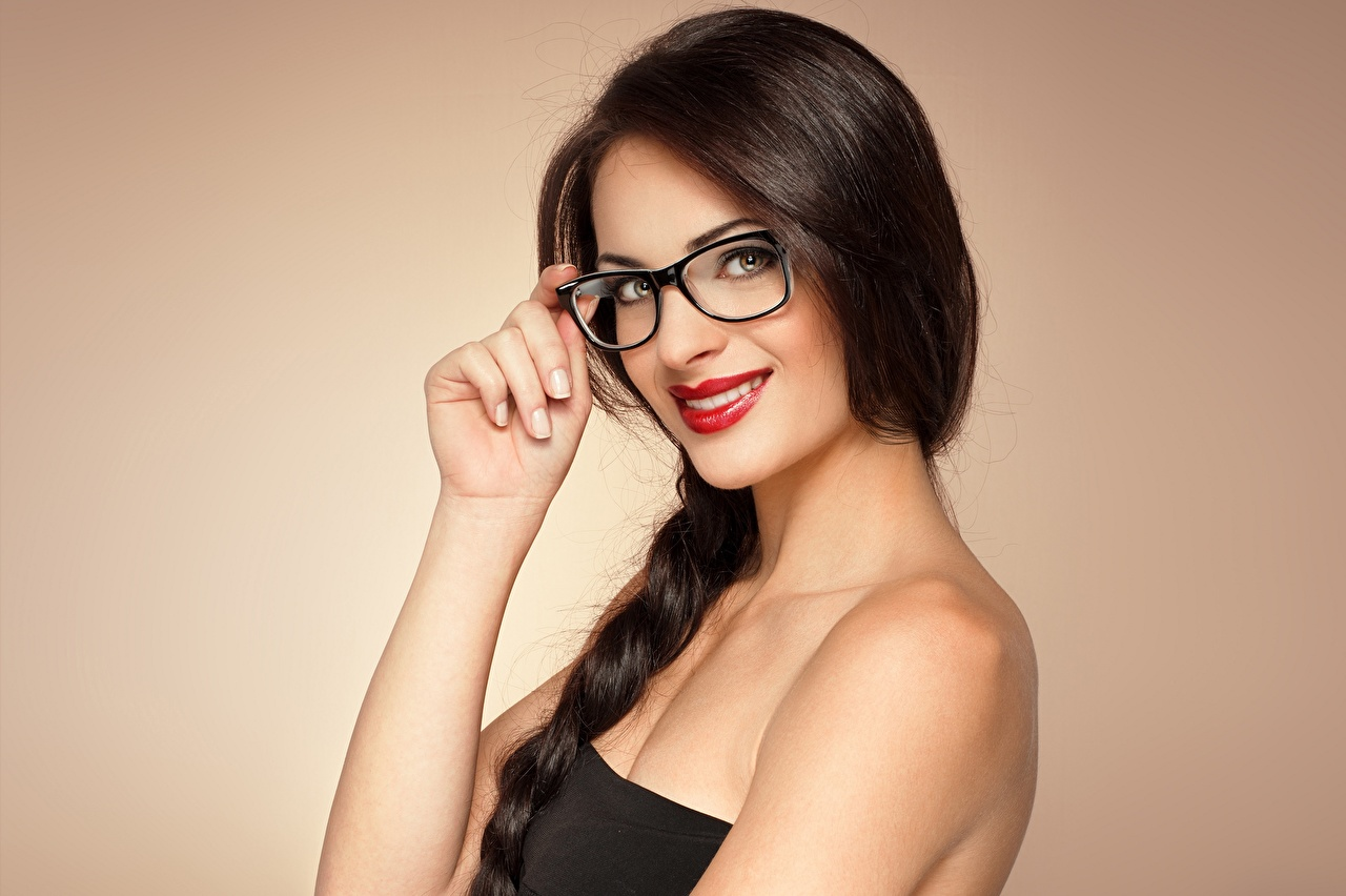 Image Brunette girl Smile young woman Hands eyeglasses Staring Red lips Colored background Girls female Glasses Glance