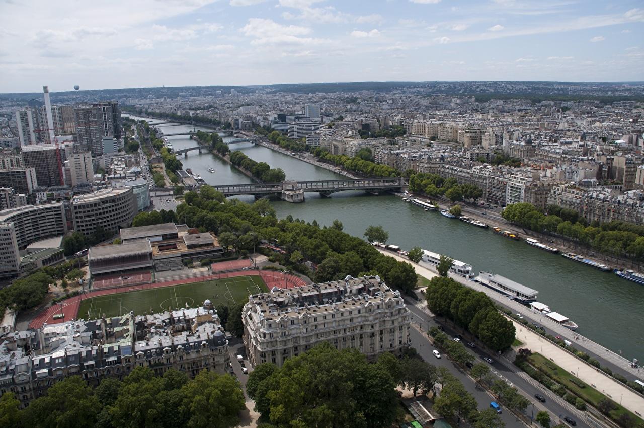 Images Paris France river Seine Bridges Horizon From above Houses Cities bridge Rivers Building
