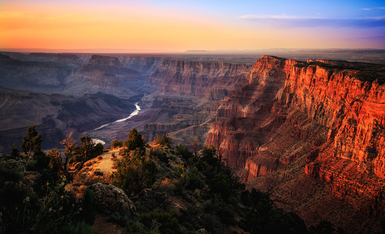 Pictures Grand Canyon Park USA Nature Canyon Mountains Parks Sunrises and sunsets Rivers