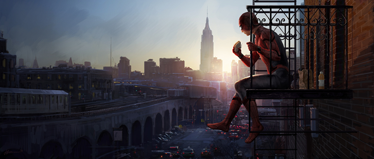 Photos Spider-Man: Homecoming superheroes Spiderman hero Balcony Movies Sitting Heroes comics film sit