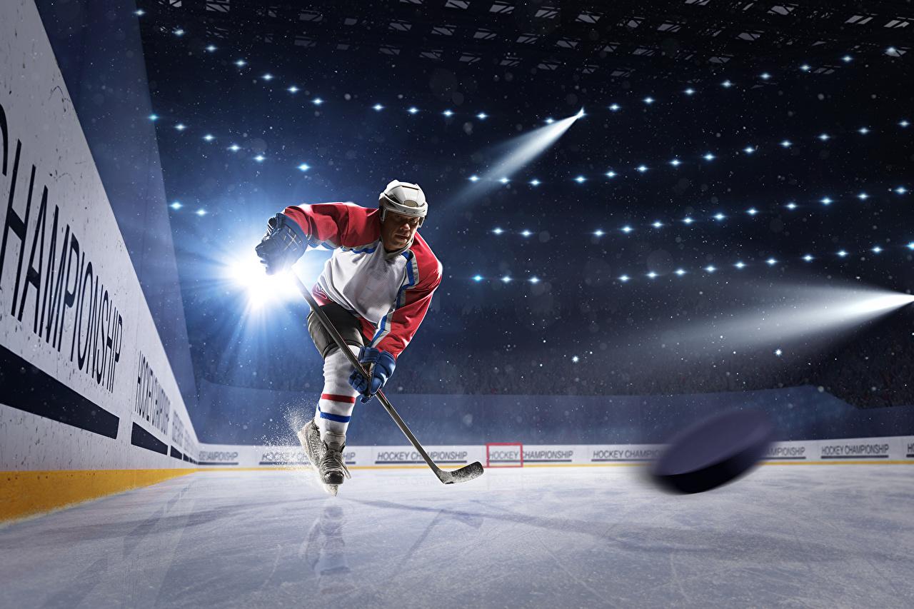 Image Rays of light Men Helmet Ice rink Ice Sport Hockey Uniform Man