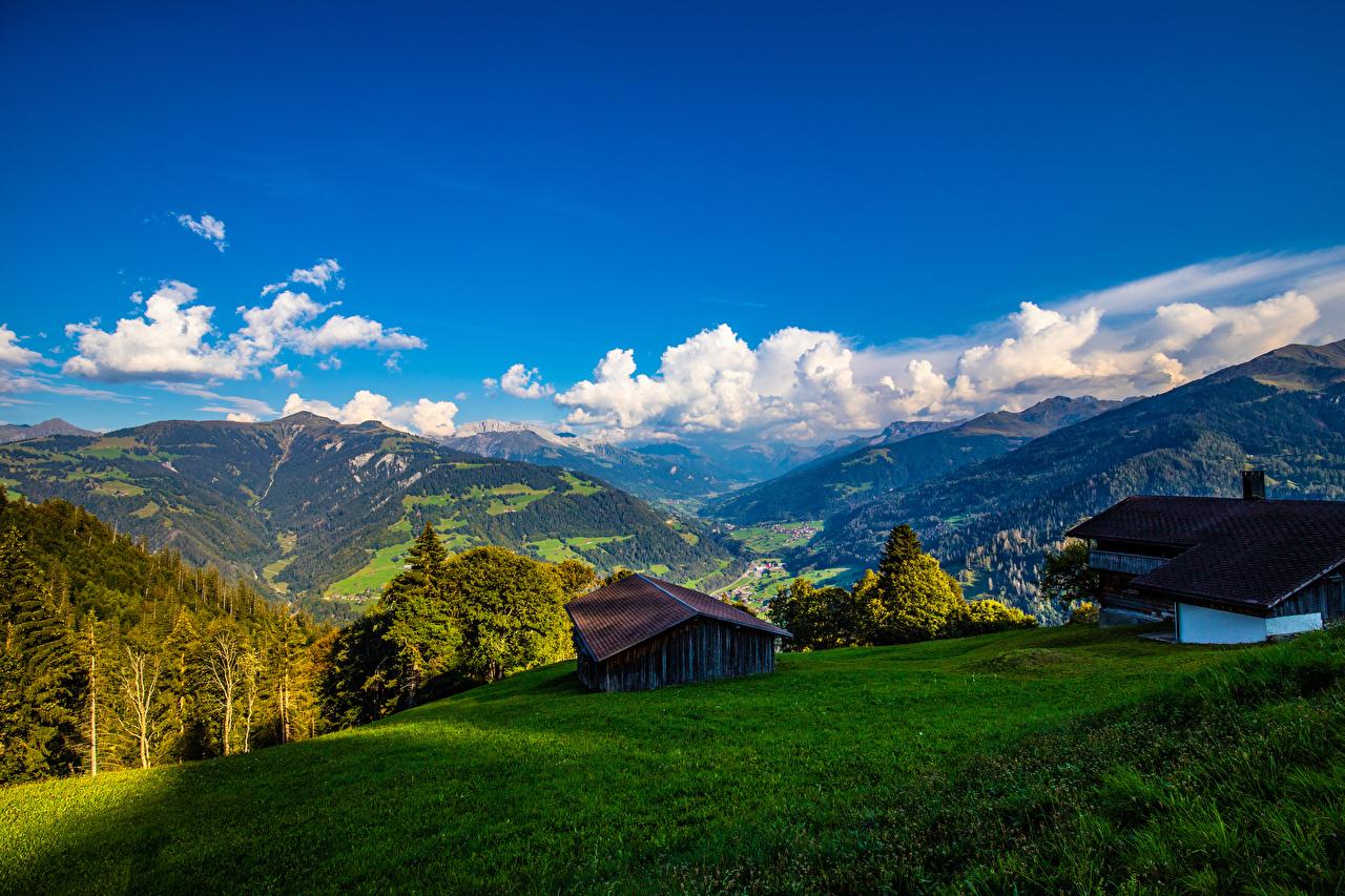 Fotos Alpen Schweiz Furna Berg Natur Landschaftsfotografie Haus Gebirge Gebäude