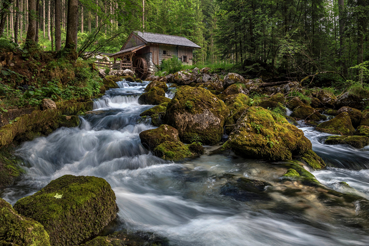 Picture Austria Watermill Golling waterfall Nature Waterfalls forest Moss river Stones water mill Forests stone Rivers