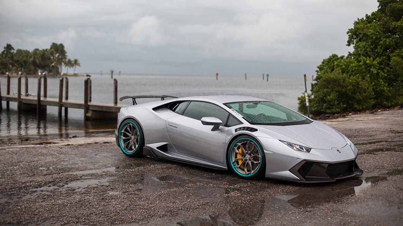 Desktop Hintergrundbilder Lamborghini Huracan Grau Autos